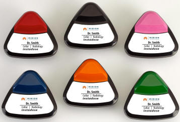 Picture of 6 instadose badges of assorted colors